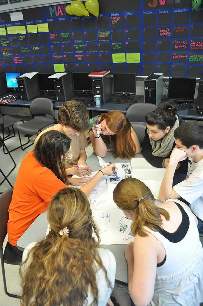 Members of the Highlander staff play Journalism trivia.