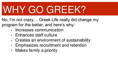 Antioch HS's Patrick Johnson presented reasons why his program structure is based on his Greek life experience.