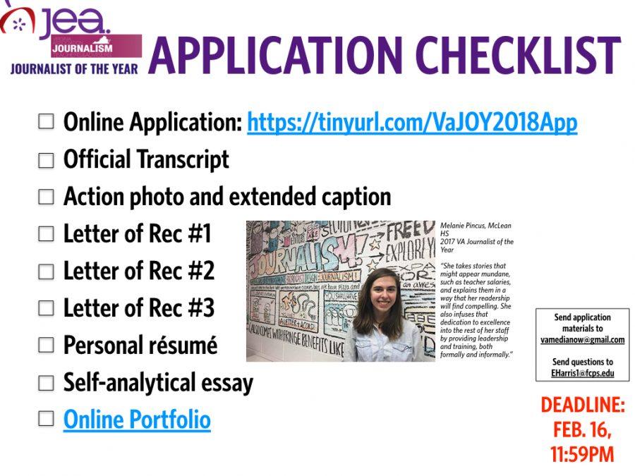 2019 VA Journalist of the Year Application Checklist