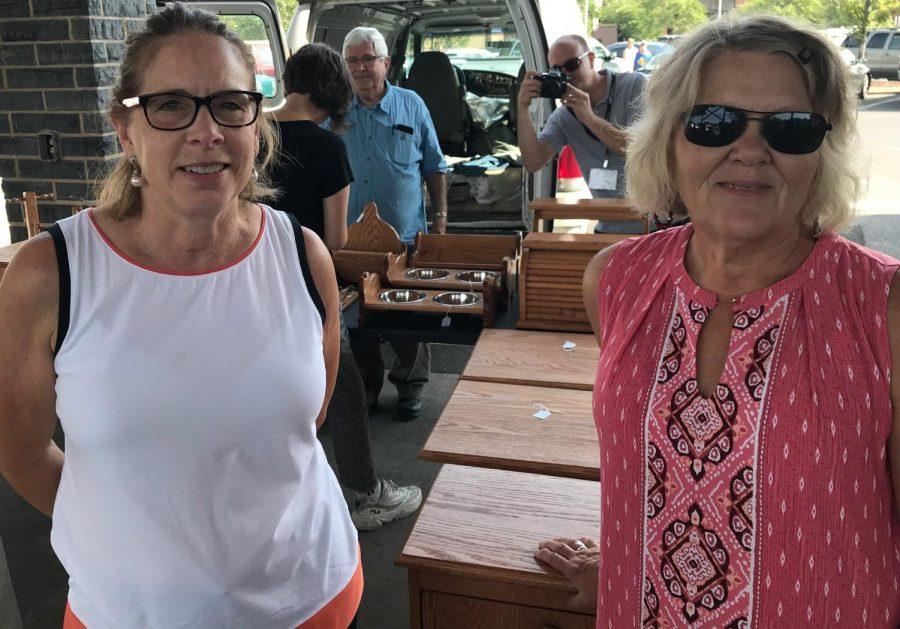 """Rosie and Mona shop at the Farmers Market in downtown Harrisonburg on Tuesday morning. Both have lived in Harrisonburg their whole lives. """"We enjoy coming to the Farmers Market to look at all the local produce, we also work in walking distance from here so we can take a little field trip,"""" they said."""
